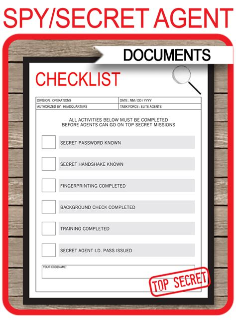 spy party mission activities checklist template