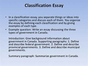 classification thesis statement examples