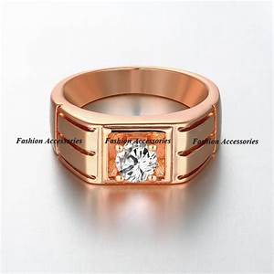 classic engagement ring men 18k rose gold filled wedding With gold diamond wedding rings for men