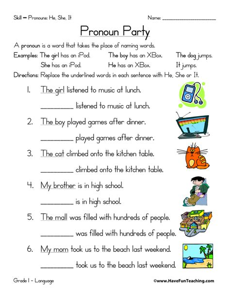 Pronoun Worksheet  Have Fun Teaching
