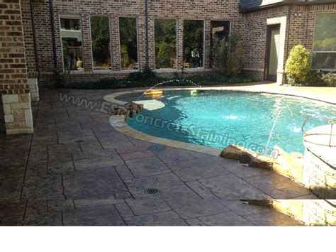 stamped concrete overlay pool deck frisco tx esr