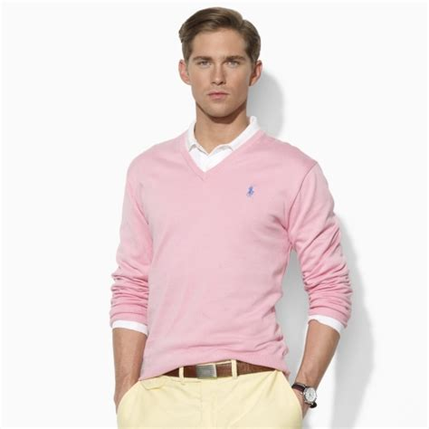 polo ralph lauren vneck sweater  pink  men lyst