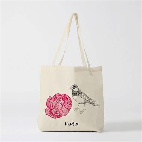 tote bag oiseau fleur sac en toile sac coton sac 224 sac fourre tout sac courses sac
