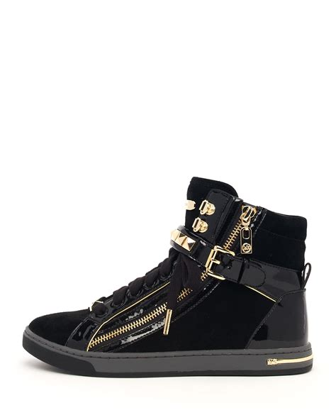 High Top by Lyst Michael Michael Kors Glam Studded High Top In Black