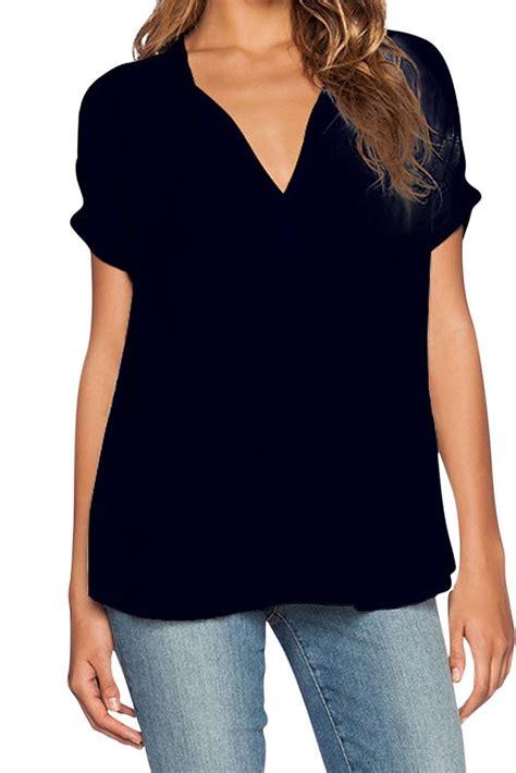 v neck blouses simple v neck sleeves asymmetrical black polyester