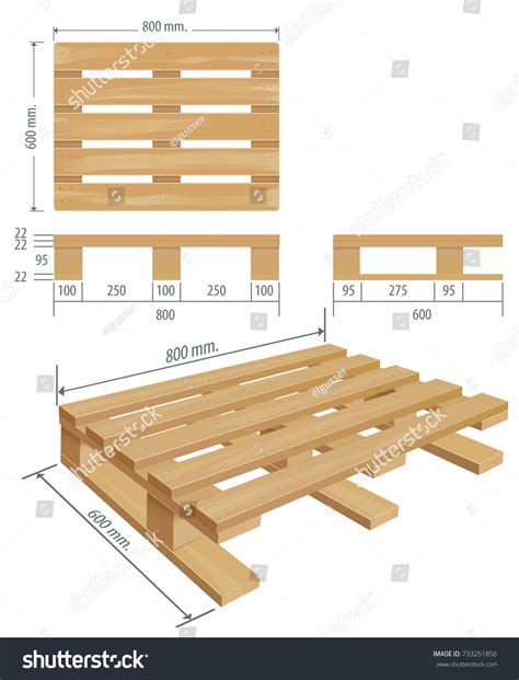 middle wooden pallet perspective front side stock vector