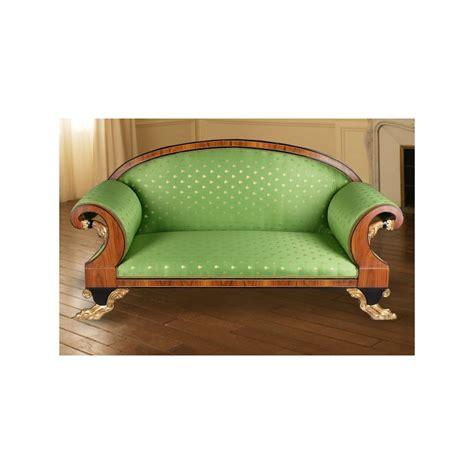 canape de style canapé de style empire tissu satiné vert et acajou