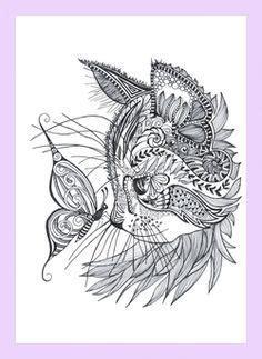 cat doodle coloring pages geometric cat