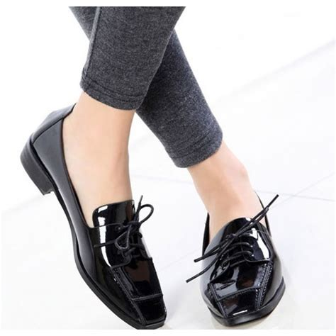 polished pu leather classic shoes  women  square tip