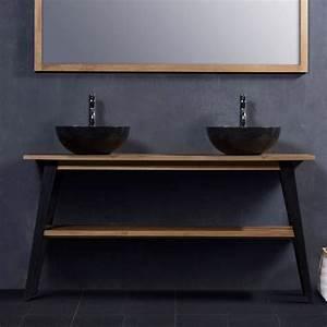 Meuble Salle De Bain 150 : meuble de salle de bain en bois de teck 150 bois dessus bois dessous ~ Teatrodelosmanantiales.com Idées de Décoration