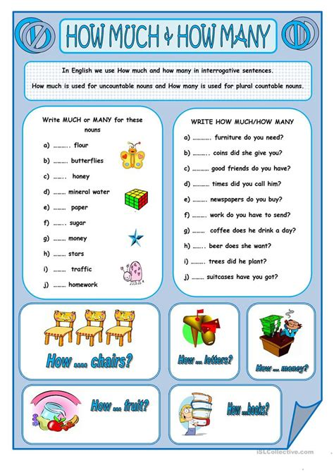 How Much & How Many Worksheet  Free Esl Printable