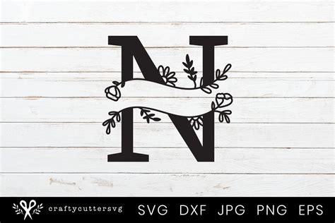 split monogram letter handdrawn botanical flower leaves  monograms design bundles