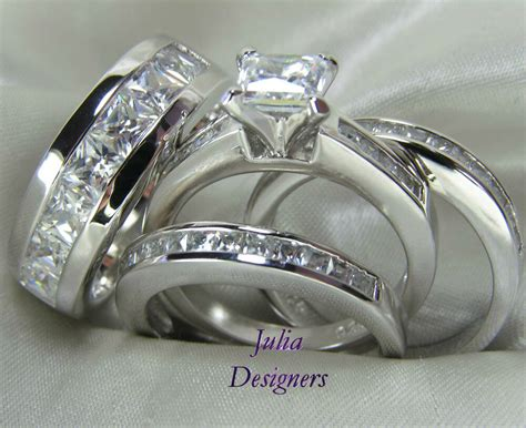 engagement wedding band ring set sterling silver
