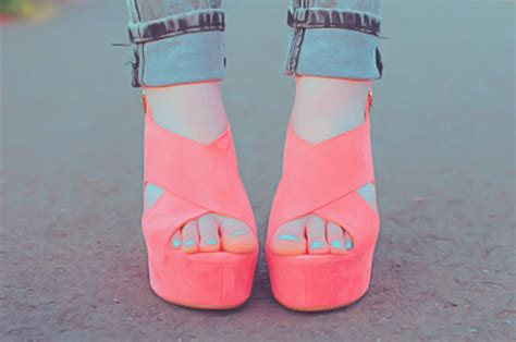 shoes high heels wedges neon pink pink heels