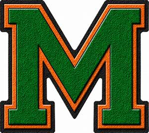 presentation alphabets green orange varsity letter m With varsity letter m