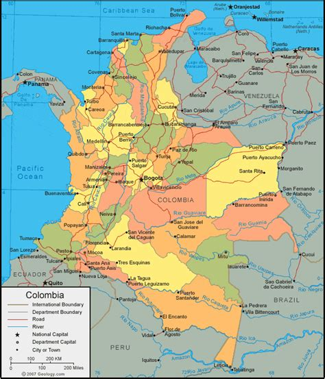 colombia map  satellite image