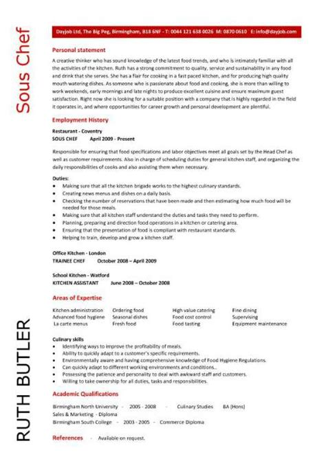 Resume For Chef by Chef Resume Sle Exles Sous Chef Free Template Chefs Chef Description Work