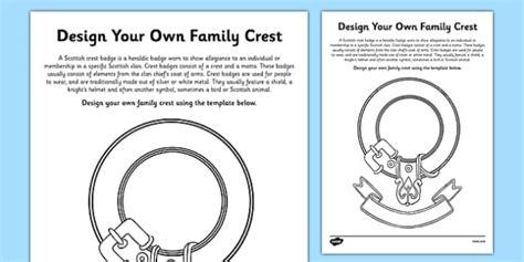 design   scottish clan crest worksheet activity sheet