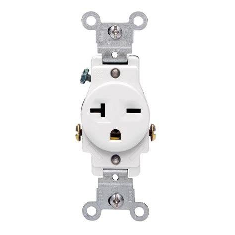 Leviton 20 Amp Commercial Grade Double-Pole Single Outlet ...