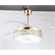 "42"" GOLDEN RETRACTABLE BLADE Folding Fan Light 3 LED"
