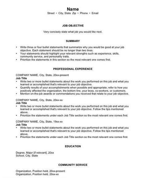 Basic Resume Exles For by Basic Chronological Resume Templates Chronological