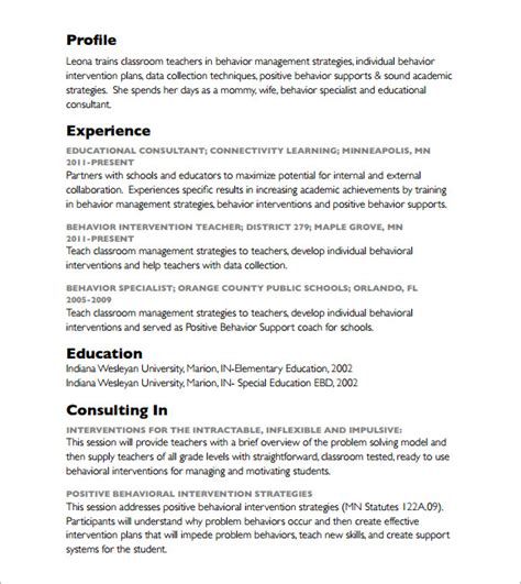 Consulting Resume Template Word by Sle Consultant Resume 5 Documents In Pdf Word Psd