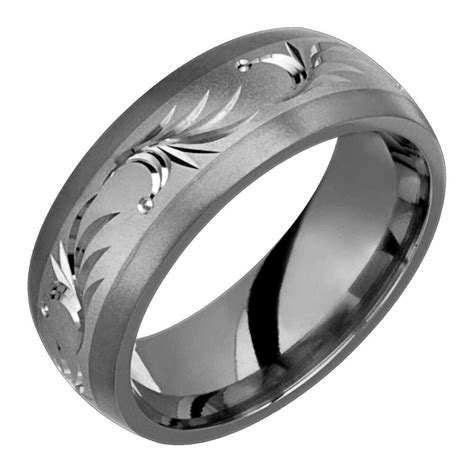 titanium 14k white gold inlay w palm motif wedding band