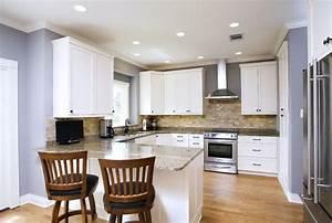traditional white with stone backsplash kitchen With kitchen colors with white cabinets with tandem bike wall art