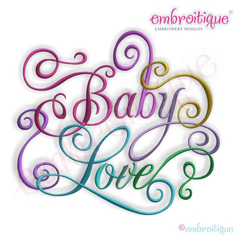 year created  april june baby love calligraphy script embroidery design
