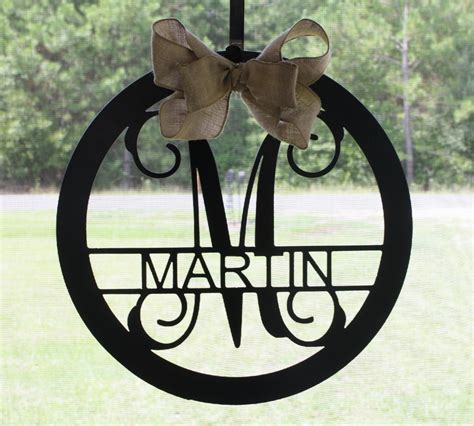 Metal Monogram Letter Family Name Wreath 18 By