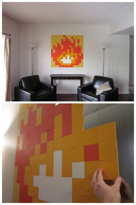 truebluemeandyou diy  bit zelda fire wall art