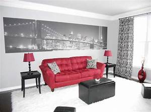 red black and white living room with white wall paint With red and black living room decorating ideas