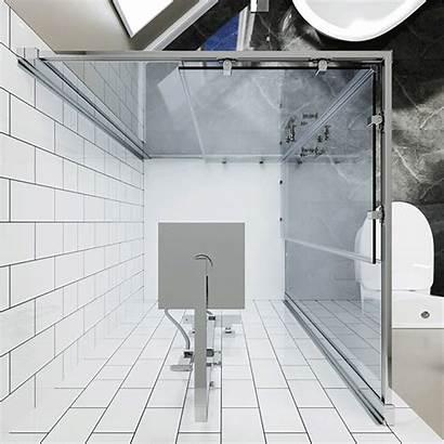 Shower Corner Entry Square Glass Enclosure Sliding