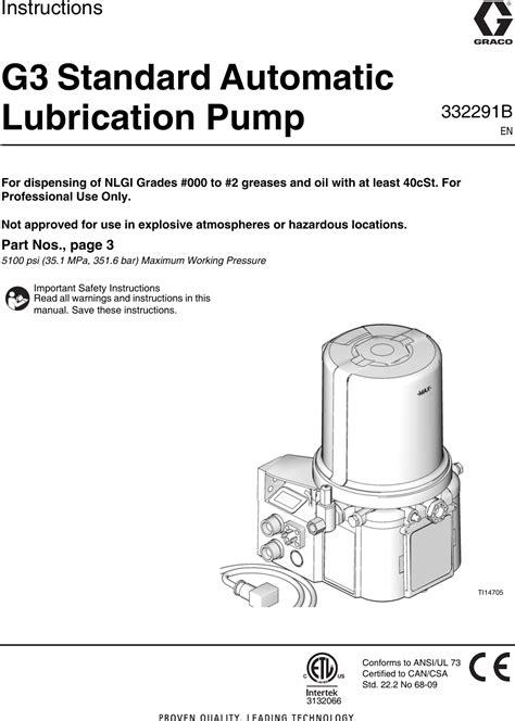 Graco 332291B G3 Standard Automatic Lubrication Pump Users