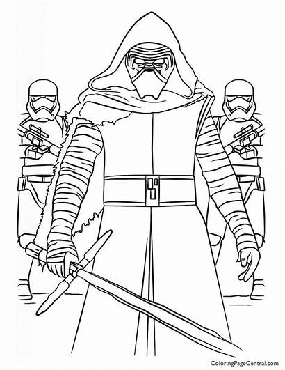 Wars Coloring Star Ren Kylo Pages Sheet