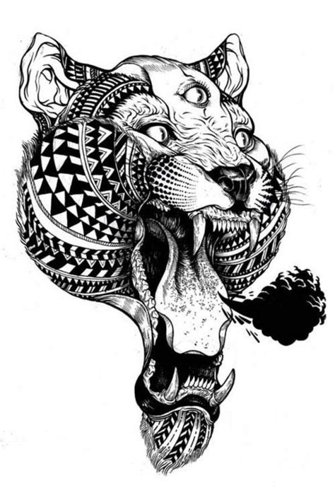 Tiger Tattoo With Maori And Mythical Influences Tattoo