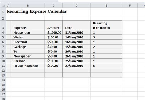 recurring expense calendar  excel templates
