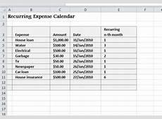 Recurring Expense Calendar My Excel Templates