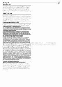 Hotpoint Bi Wmhg 71284 Washer Quick Guide
