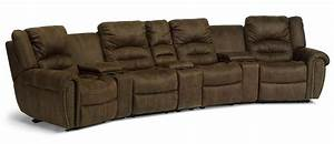 Flexsteel latitudes new town curved reclining sectional for Sectional sofas with 4 recliners