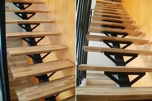 Fabrication d'un escalier à limon central en acier avec marches bois