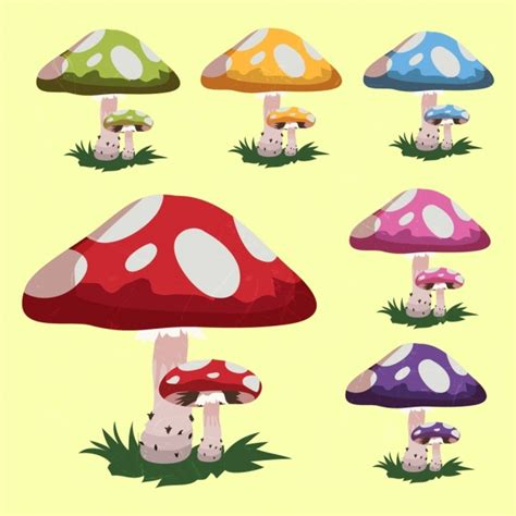 Mushroom Icons Collection Multicolored Cartoon Design Free