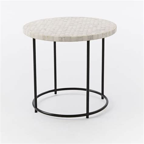mosaic tiled side table white marble top metal base