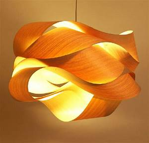 Wood veneer ceiling lights : New chinese southeast asian style wooden wave veneer