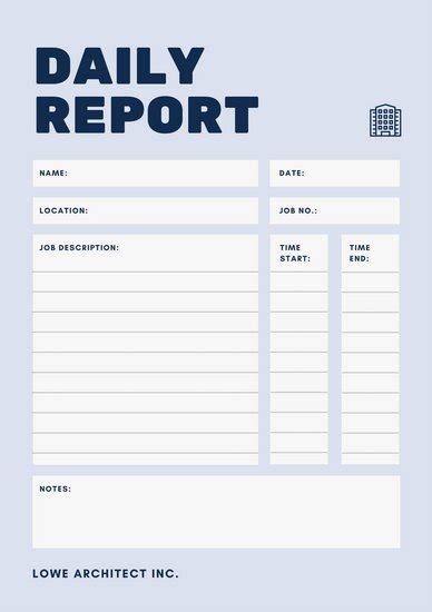 daily report blue simple daily work report templates by canva