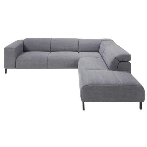 canapé angle droit canapé d 39 angle droit avec têtières 6 places en coton gris