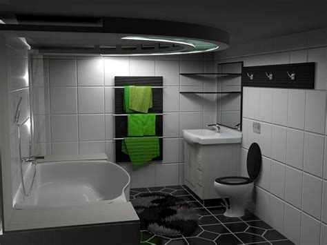 Black White And Green by 3d Model Modern Black White Green Bathroom Cgtrader