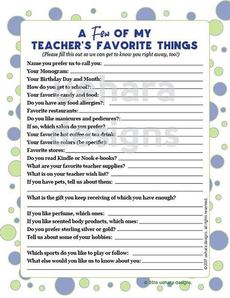 teachers favorites list teacher questionnaire teacher