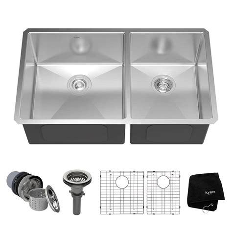 undermount stainless sinks kitchen sinks kraus undermount stainless steel 33 in 60 40 bowl 8737