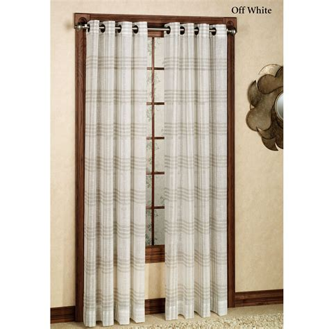 sheer curtain panels with grommets soho semi sheer plaid grommet curtain panels